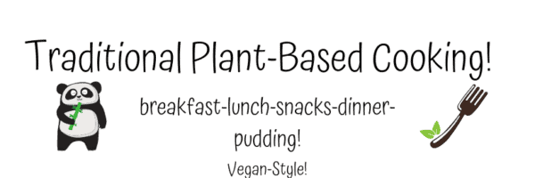 blog logo with title and the words 'breakfast, lunch, snacks, dinner and pudding, vegan style'written on