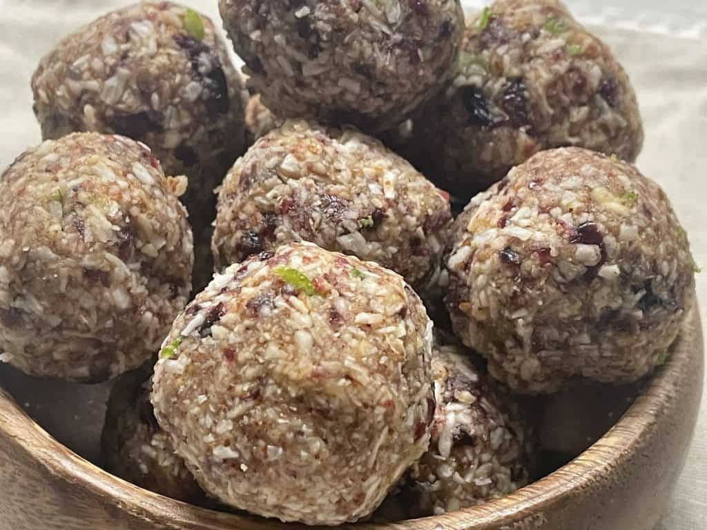cranberry coconut and lime energy balls