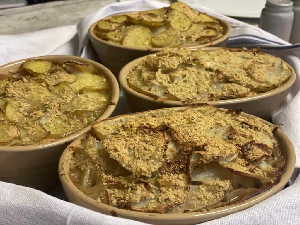 vegan Lancashire hotpot about traditional plant-based cooking