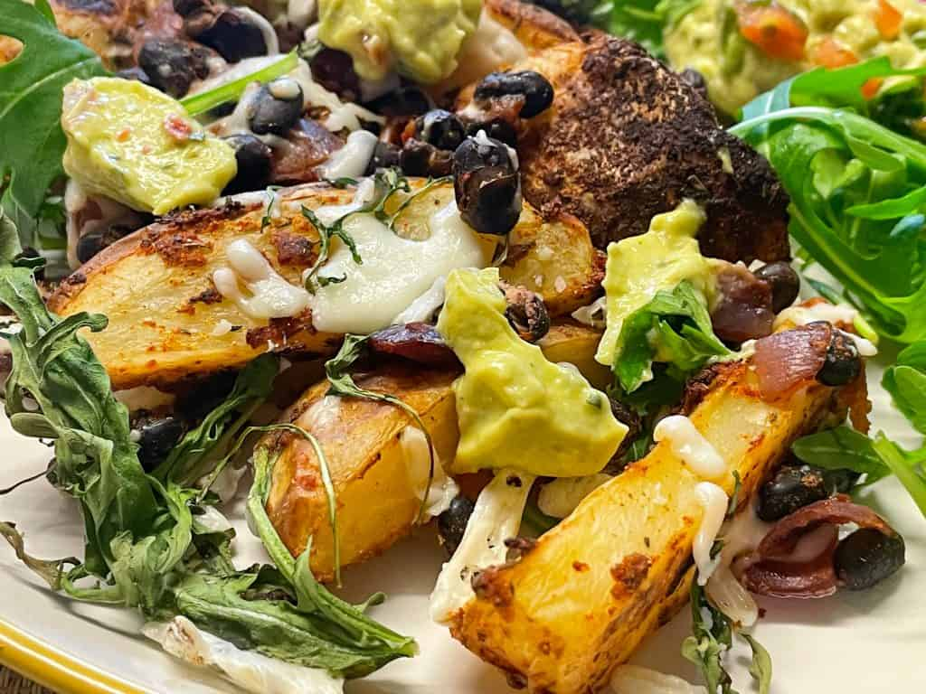 vegan loaded black bean potato wedges fake-away