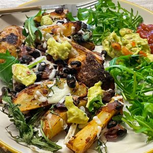 vegan loaded black bean potato wedges fake-away