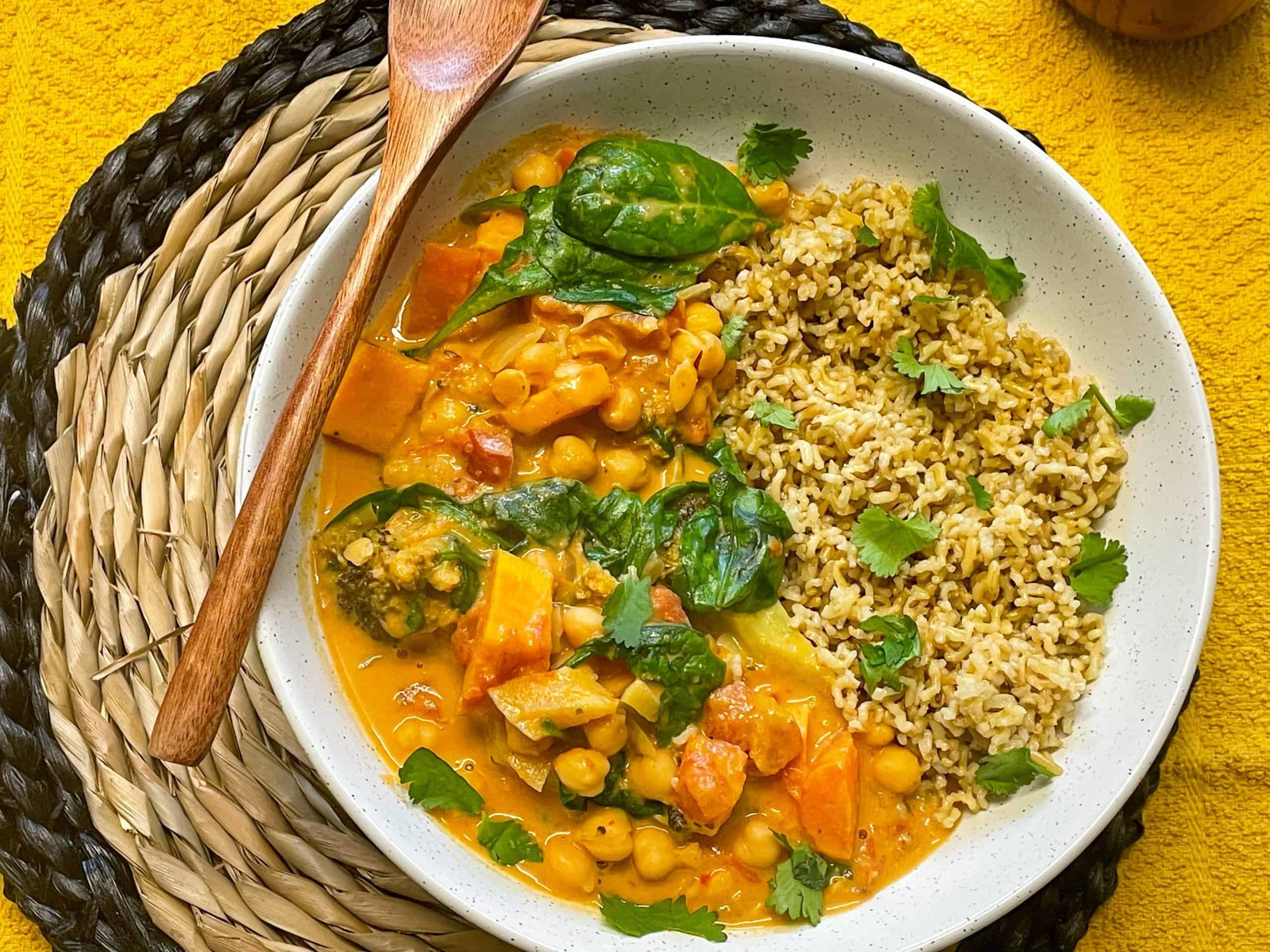 vegan Thai red curry sweet potato broccoli chickpea
