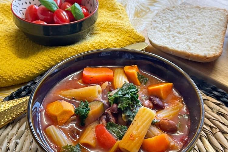 vegan 3 bean minestrone soup