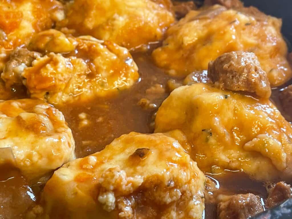 dumplings flipped over in slow cooker