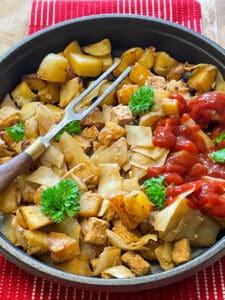 vegan corned beef tempeh hash