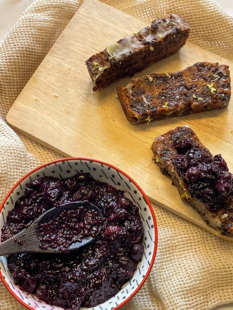 vegan sugar-free chia blueberry jam