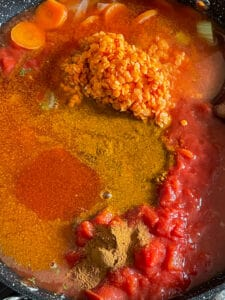passata, red lentils and chopped tomatoes added to stew