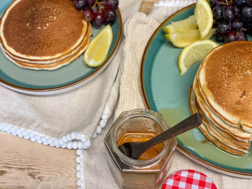 vegan traditional Scotch pancakes served with dandelion honey