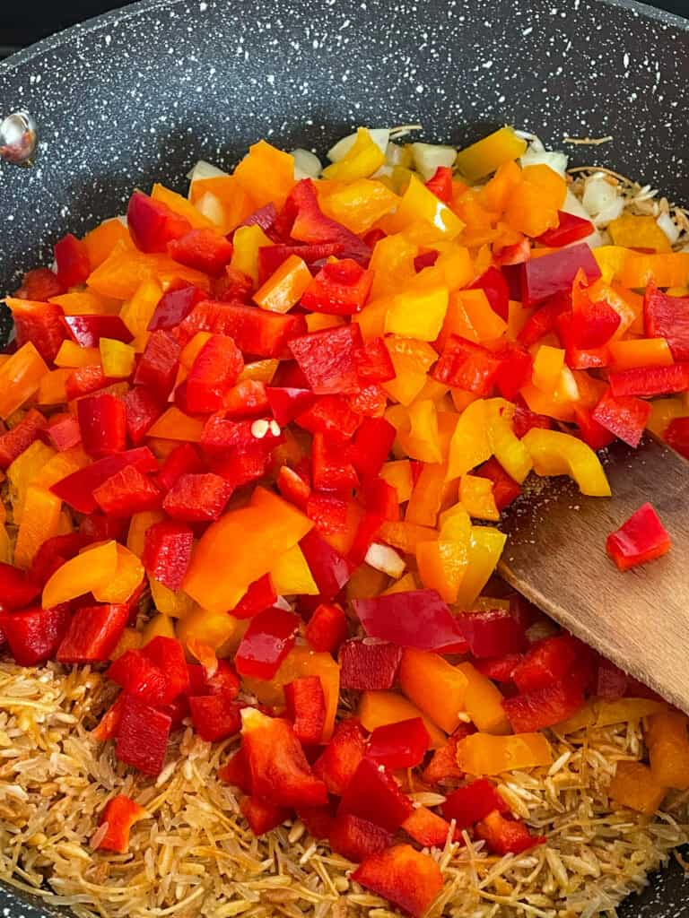 peppers added to pan