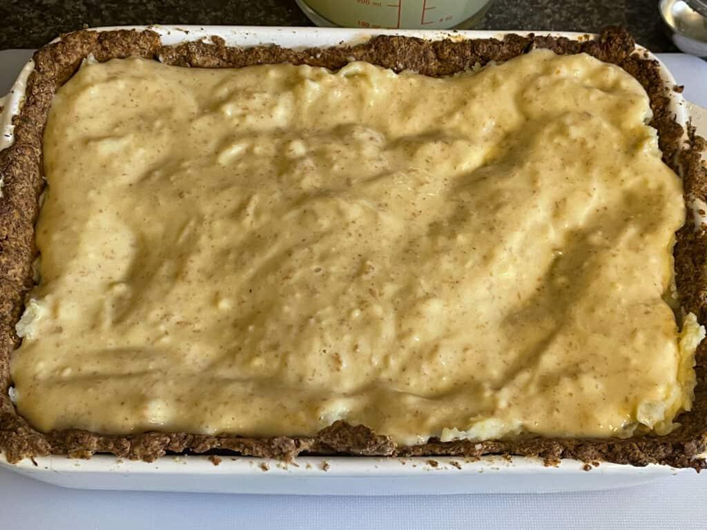 potato mix added to pie crust.