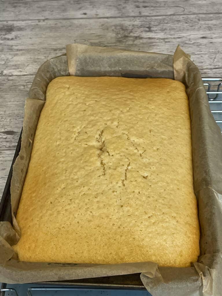 sponge vegan baked and golden.