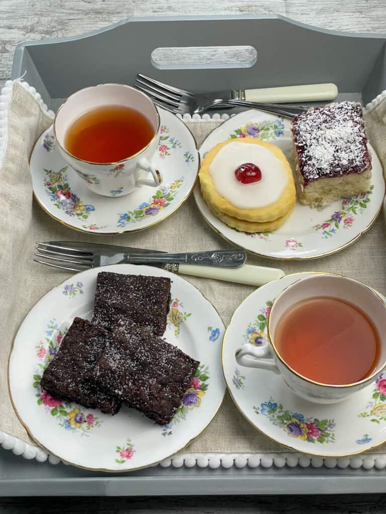 vegan school sponge with afternoon tea spread