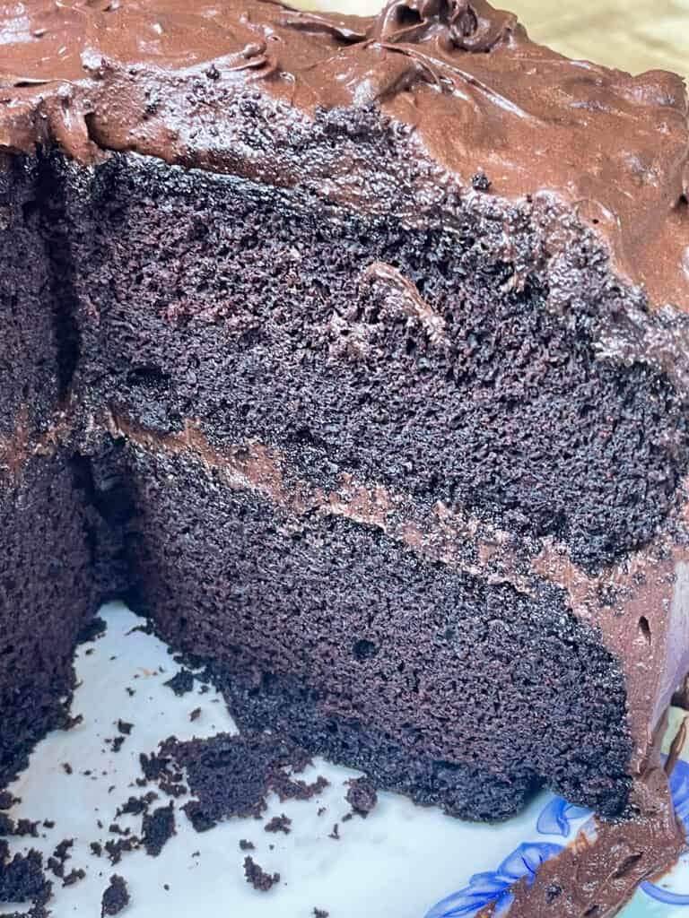 gluten free vegan chocolate cake sliced open to see the insides
