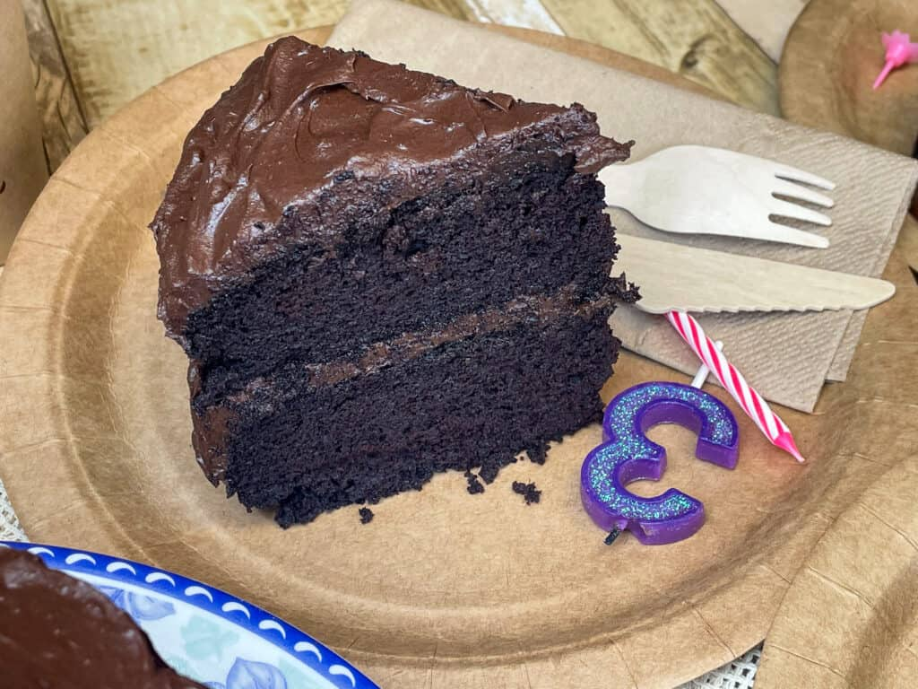 gluten free chocolate cake sitting on brown cardboard plate with candles, and disposable cutlery