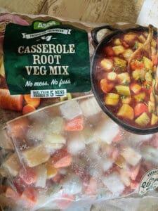 a bag of casserole root veg mix