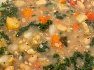 kale, oatmeal and gravy powder added to the pan with veggies