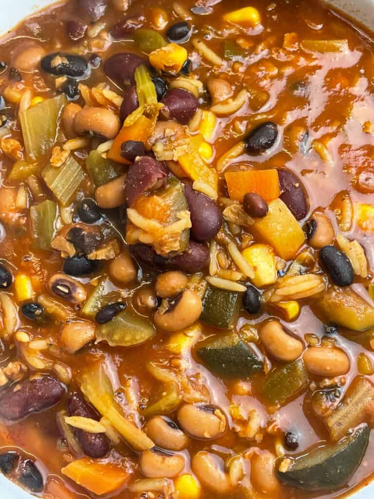 close up of taco bean soup in soup pan.