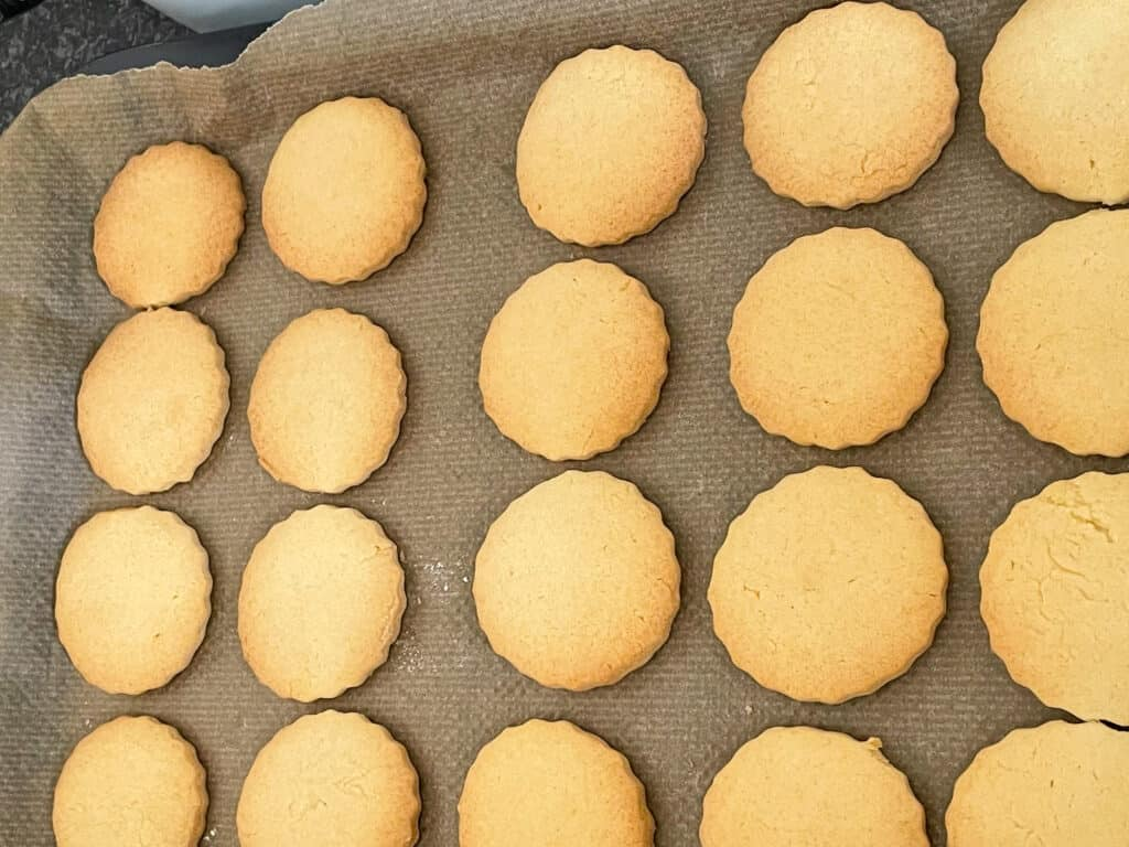 biscuits baked and ready on baking tray.