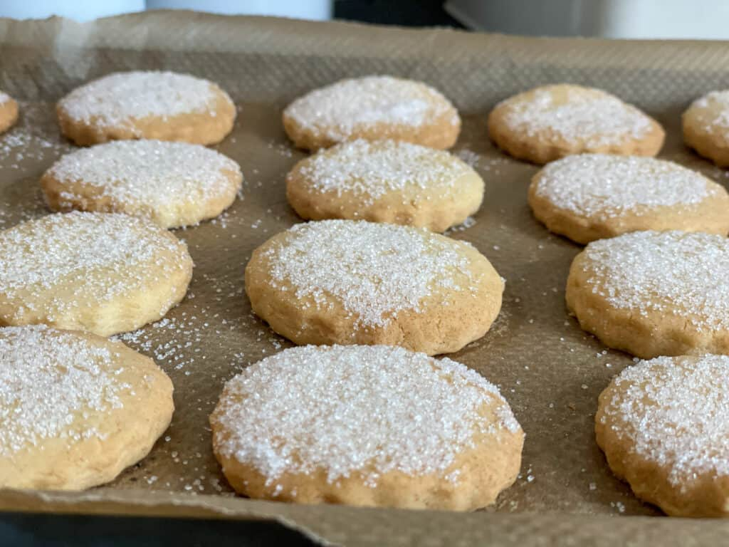 biscuits baked and dredged with sugar.