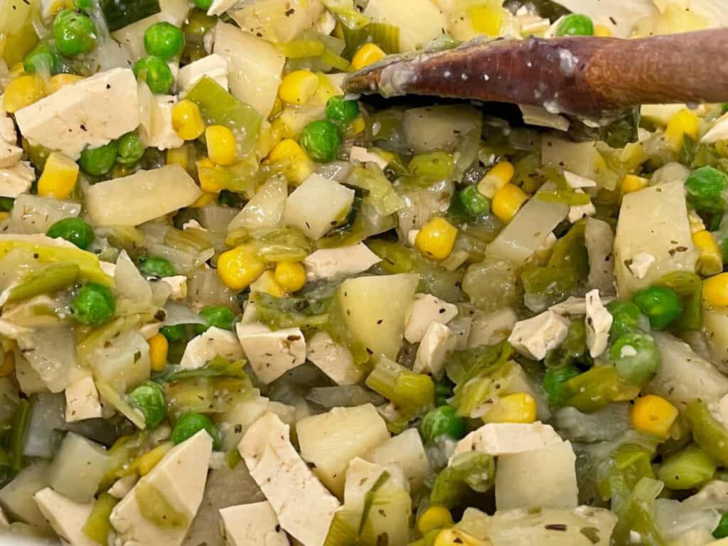 cubed potatoes, sweetcorn, peas and tofu to sautéed veggies.