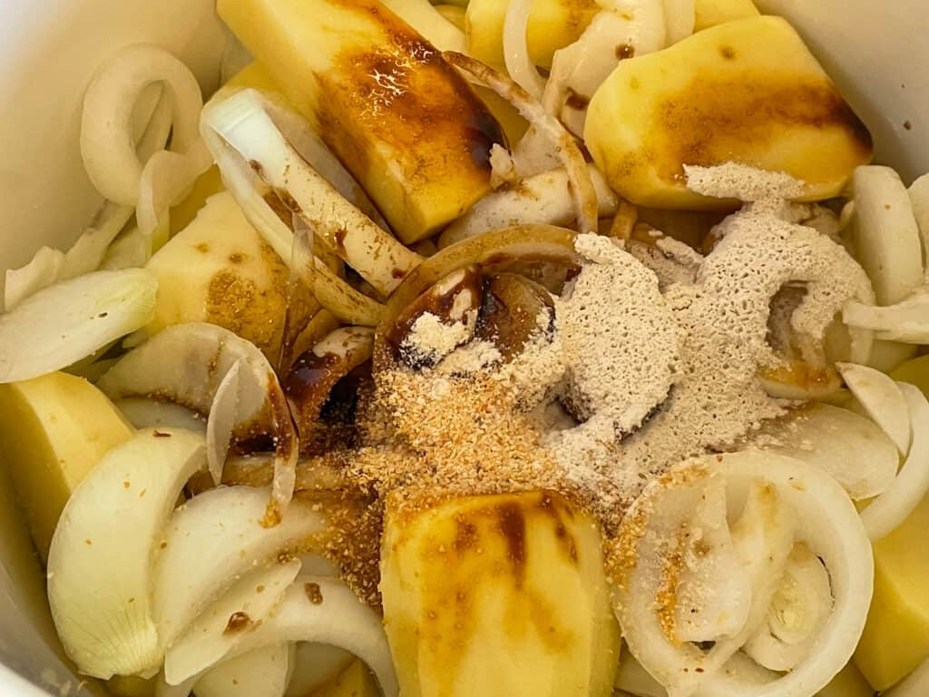 seasonings added to potatoes and onions.