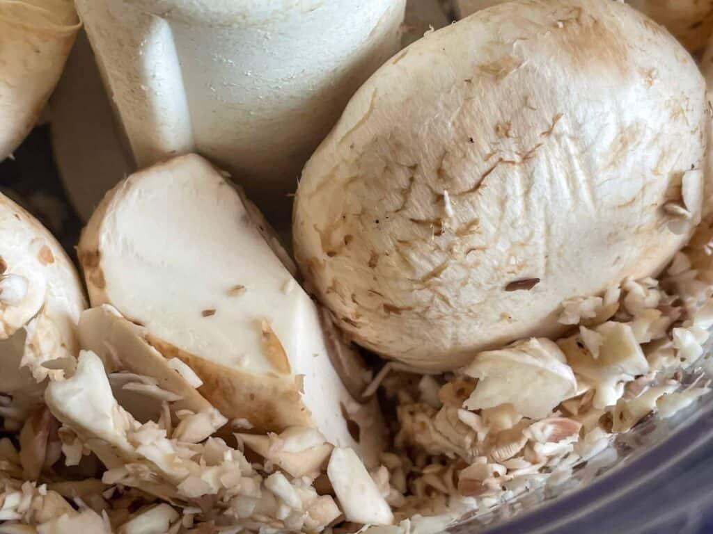 mushrooms in food processor.