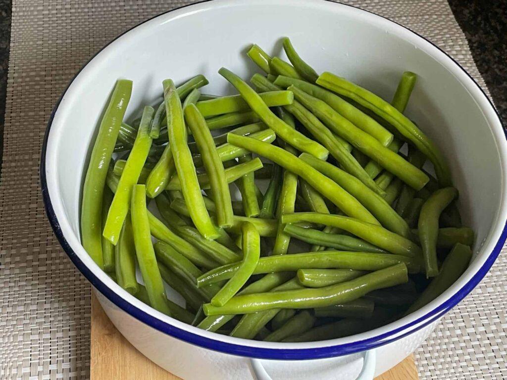 Green beans in casserole dish.