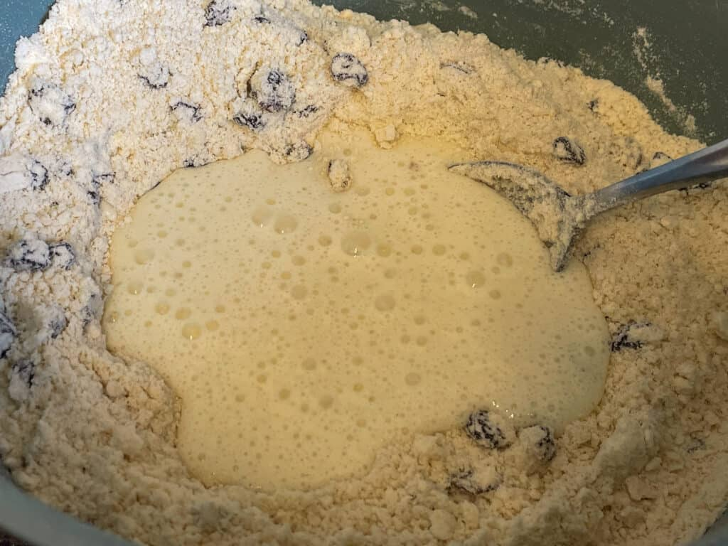 Plant buttermilk added to flour and currant mix.