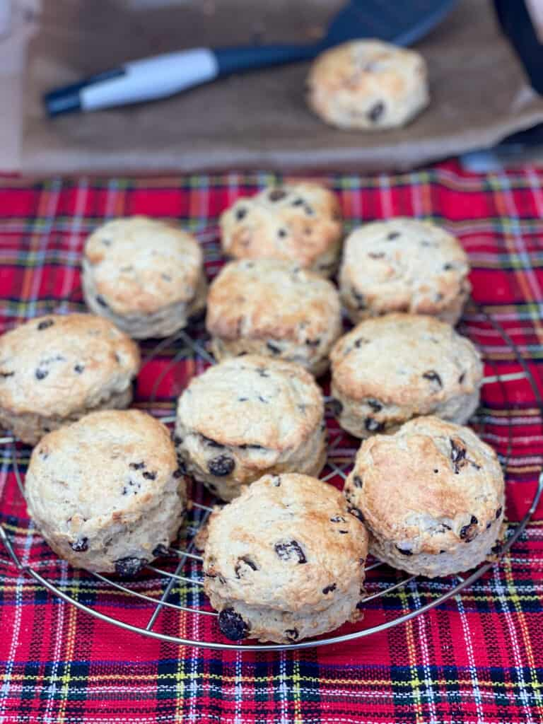 Edinburgh fruit scones on circle cooling rack, with baking tray and one scone and spatula in distance, tartan background.
