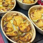 Vegan Lancashire hotpot ready and golden.