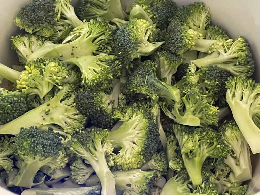 Chopped broccoli in soup pan.