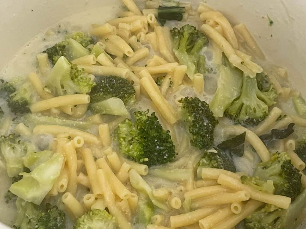 Veggie stock added to pasta and broccoli in soup pan.