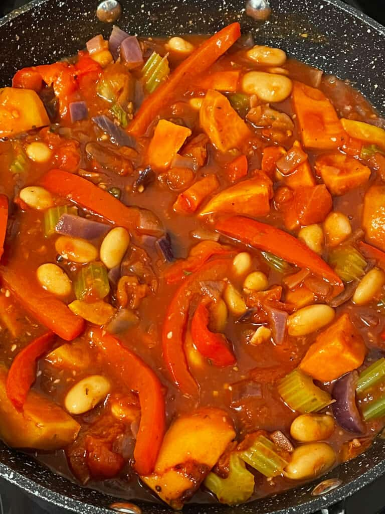 All ingredients mixed together and simmering in the skillet.