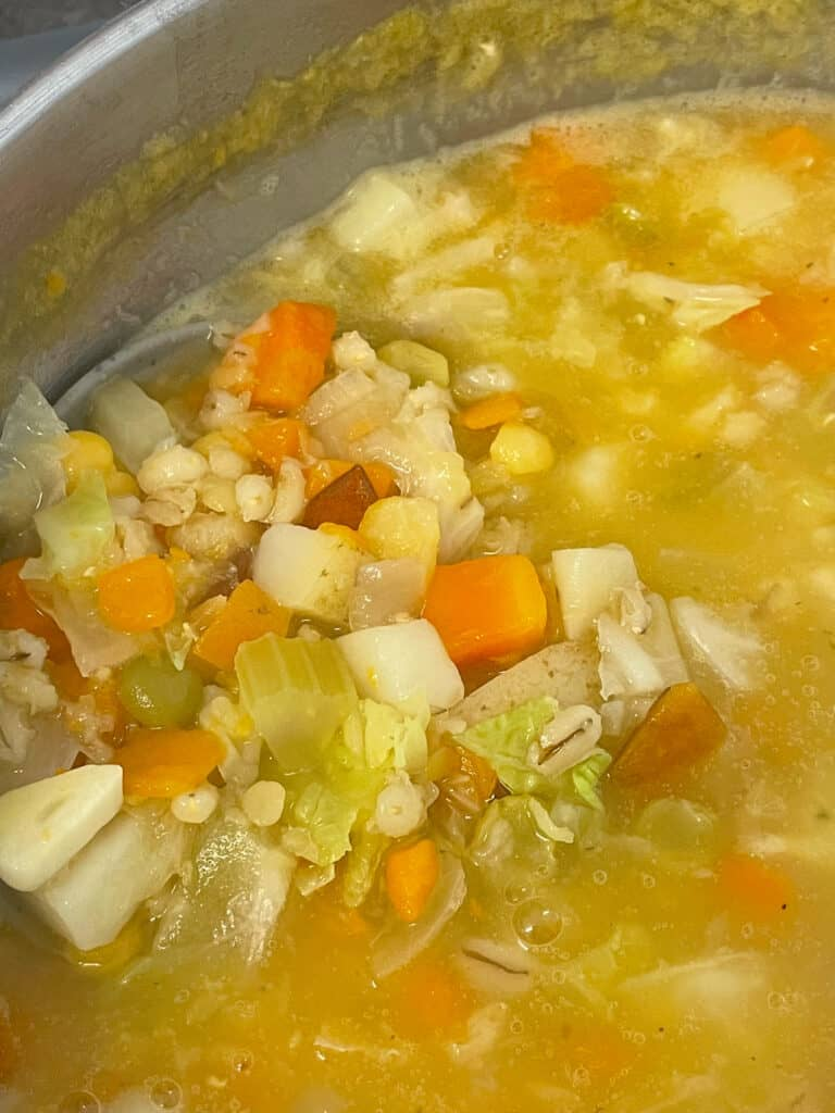 Soup cooked and ready, with grey ladle.